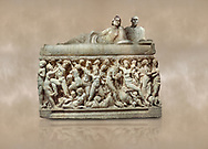 """Roman relief sculpted sarcophagus depicting a scene with Dionysus made in a Greek Attica workshop, 3rd century AD, Perge Inv 1.35.99. Antalya Archaeology Museum, Turkey.<br /> <br /> The lid of the sarcophagus is sculpted into the form of a """"Kline"""" style Roman couch on which lie Julianus &  Philiska. This type of Sarcophagus is also known as a Sydemara Type of Tomb.. Against a warm art background. ..<br /> <br /> If you prefer to buy from our ALAMY STOCK LIBRARY page at https://www.alamy.com/portfolio/paul-williams-funkystock/greco-roman-sculptures.html . Type -    Antalya    - into LOWER SEARCH WITHIN GALLERY box - Refine search by adding a subject, place, background colour, etc.<br /> <br /> Visit our ROMAN WORLD PHOTO COLLECTIONS for more photos to download or buy as wall art prints https://funkystock.photoshelter.com/gallery-collection/The-Romans-Art-Artefacts-Antiquities-Historic-Sites-Pictures-Images/C0000r2uLJJo9_s0"""