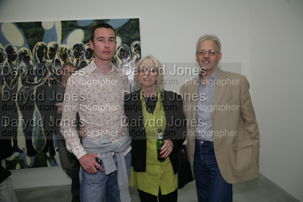 PETER WELLOCK, JEAN STONER AND STEVE HUTCHINS, private view  of new exhibition by Tim Stoner , Alison Jacques Gallery in new premises in Berners St., London, W1 ,Afterwards across the rd. at the Sanderson Hotel. 3 May 2007. DO NOT ARCHIVE-© Copyright Photograph by Dafydd Jones. 248 Clapham Rd. London SW9 0PZ. Tel 0207 820 0771. www.dafjones.com.