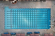 A general view of the vacant swimming pool at Belvedere Park amid the global coronavirus COVID-19 pandemic, Thursday, June 18, 2020, in Los Angeles.