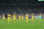Romania players applaud their fans during the Group A Euro 2016 match between France and Romania at the Stade de France, Saint-Denis, Paris, France on 10 June 2016. Photo by Phil Duncan.