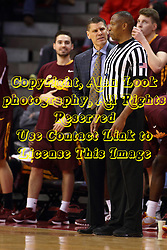 06 January 2016: Porter Moser looks in disbelief at Roland Simmons during the Illinois State Redbirds v Loyola-Chicago Ramblers at Redbird Arena in Normal Illinois (Photo by Alan Look)