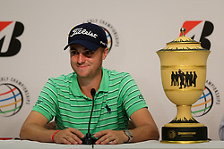 August 5, 2018 - Akron, Ohio, United States - Justin Thomas speaks to the media with the trophy after winning the WGC-Bridgestone Invitational at Firestone Country Club. (Credit Image: © Debby Wong via ZUMA Wire)
