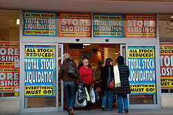 Woolworths closing down sale; Reading; Berks Dec 2008 UK
