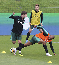 May 23, 2018 - Na - Oeiras, 22/05/2018 - Adrien e João Mário durante o primeiro treino da selecção nacional de preparação do Mundial FIFA de futebol Russia2018, esta tarde na Cidade do Futebol. (Credit Image: © Atlantico Press via ZUMA Wire)