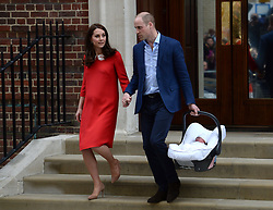 The Duke and Duchess of Cambridge and their newborn son leave the Lindo Wing at St Mary's Hospital in Paddington, London.