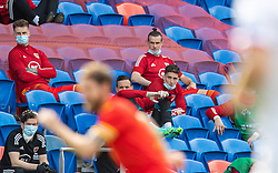 CARDIFF, WALES - Saturday, June 5, 2021: Wales' substitute Gareth Bale sits on the bench during an International Friendly between Wales and Albania at the Cardiff City Stadium in their game before the UEFA Euro 2020 tournament. (Pic by David Rawcliffe/Propaganda)