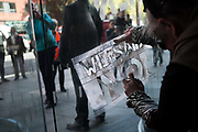 Around 40 activists dressed as animals invaded the PR firm Bell Pottinger My 11th, 2017, in central London, United Kingdom.  The activists want to ecxpose the companys ties with thefracking industry as part of a long running campaign against fracking by the activist group Reclaim the Power called Break the Chain. A stencil saying We Said No sprayed on the glass door. The spray is organic and easy to remove.<br /> The activist spend a short while in the lobby  with zebras throwing leaves, monkeys spreading animal manure and a squid spraying 'ink' on the windows before leaving peacefully.<br /> Bell Pottinger currently represent Centrica which is a major fracking investor in the UK according to the groups press release and the company has in the past helped the fracking company Quadrilla restore their reputation, also according to the press release.