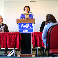 090214  Adron Gardner<br /> <br /> Fannie Lowe Atcitty introduces herself as the running mate to Navajo Nation Presidential candidate Chris Deshchene at the Navajoland Inn & Suites in St. Michaels Tuesday.