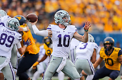 Sep 22, 2018; Morgantown, WV, USA; Kansas State Wildcats quarterback Skylar Thompson (10) throws a pass during the first quarter against the West Virginia Mountaineers at Mountaineer Field at Milan Puskar Stadium. Mandatory Credit: Ben Queen-USA TODAY Sports