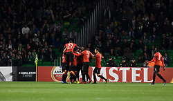 February 21, 2019 - Seville, Spain - Rennes celebrate goal during the Europa League round of 32 second leg soccer match between Betis and Rennes at the Benito Villamarin stadium, in Seville, Spain, Thursday, Feb. 21, 2019. (Credit Image: © Gtres/NurPhoto via ZUMA Press)