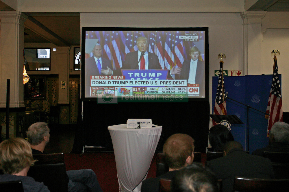 Wednesday 9th October 2016.<br /> Cathedral Venue, The Taj Hotel,<br /> Cape Town, Western Cape,<br /> South Africa.<br /> <br /> Donald Trump Wins US Presidential Election!<br /> <br /> A live video feed shows Donal Trump speaking shortly after the announcement of his dramatic win over Hillary Clinton in the US Presidential Election during a US Presidential Election Party held at the Taj Hotel in Cape Town, Western Cape, South Africa on Wednesday 9th November 2016.<br /> <br /> Picture By:  Mark Wessels / RealTime Images.