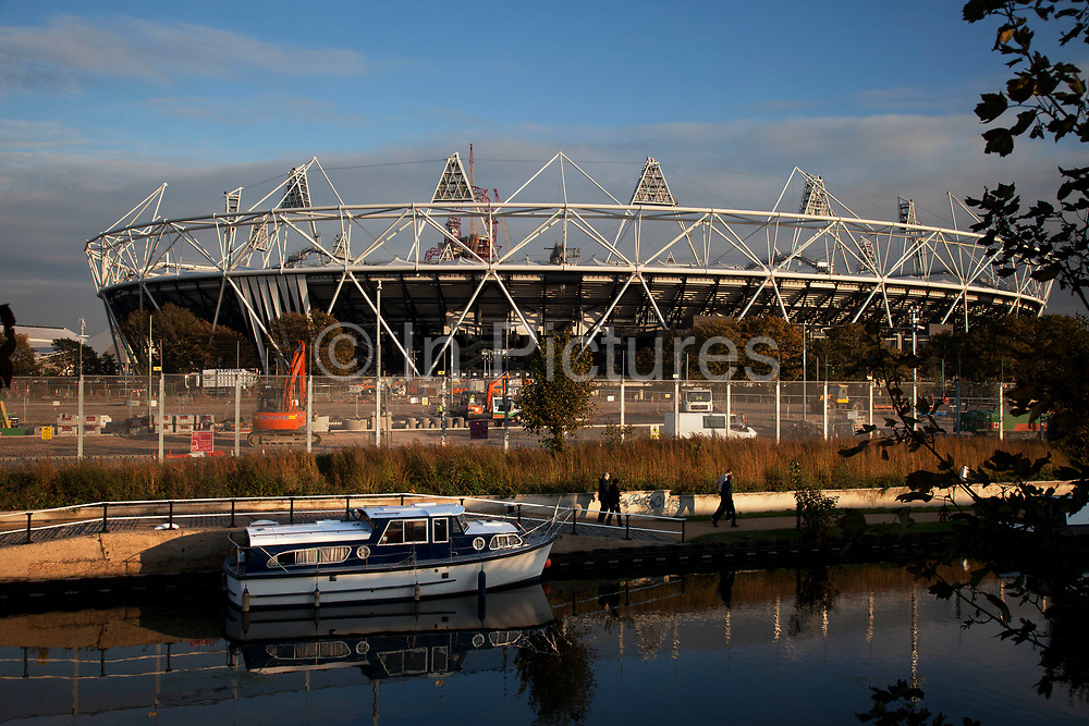 View from The Counter Cafe at the Stour Space in Hackney Wick. This space provides one of the best views of the Olympic Stadium and is one of the East End of London's most artistic areas with studios mingling with warehouse spaces.