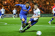 Colchester United forward Paris Cowan-Hall (11) blocks Tottenham Hotspur defender Ben Davies (33) during the EFL Cup match between Colchester United and Tottenham Hotspur at the JobServe Community Stadium, Colchester, England on 24 September 2019.