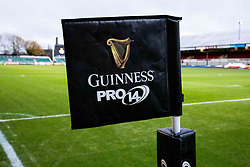 A general view of Rodney Parade, home of Dragons banner, flag<br /> <br /> Photographer Simon King/Replay Images<br /> <br /> Guinness PRO14 Round 10 - Dragons v Leinster - Saturday 1st December 2018 - Rodney Parade - Newport<br /> <br /> World Copyright © Replay Images . All rights reserved. info@replayimages.co.uk - http://replayimages.co.uk