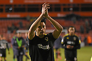 AFC Wimbledon defender Will Nightingale (5) applauds the fans during the EFL Sky Bet League 1 match between Walsall and AFC Wimbledon at the Banks's Stadium, Walsall, England on 12 February 2019.