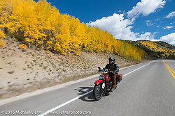 Buck Carson riding his 1936 Harley-Davidson R on Colorado Highway 91 to Leadville during Stage 10 (278 miles) of the Motorcycle Cannonball Cross-Country Endurance Run, which on this day ran from Golden to Grand Junction, CO., USA. Monday, September 15, 2014.  Photography ©2014 Michael Lichter.