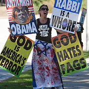 Members of the Westboro Baptist Church demonstrate in Los Angeles. Picketing Hillel Council at UCLA. (NOTE: Although she would not provide her name, the woman at left is believed to be Libby Phelps)