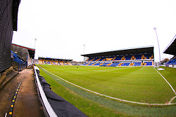 A general view of the One Call stadium, home to Mansfield Town - Mandatory by-line: Ryan Crockett/JMP - 20/02/2021 - FOOTBALL - One Call Stadium - Mansfield, England - Mansfield Town v Cambridge United - Sky Bet League Two