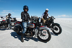 Cris Sommer Simmons riding her 1934 Harley-Davidson VD after the Panorama portrait on the Bonneville Salt Flats during stage 12 (299 m) of the Motorcycle Cannonball Cross-Country Endurance Run, which on this day ran from Springville, UT to Elko, NV, USA. Wednesday, September 17, 2014.  Photography ©2014 Michael Lichter.