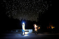 Night Sky and Dancing Dudes, along the banks of the Metolius River<br /> <br /> Shot in Oregon, USA