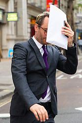 Eden Blackman leaves an employment tribunal in London where former Celebs Go Dating  co-host Nadia Essex is suing him for unfair dismissal. London, April 24 2019.