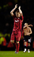 Photo: Jed Wee.<br />Liverpool v Anderlecht. UEFA Champions League.<br />01/11/2005.<br /><br />Liverpool's John Arne Riise applauds the fans at the end of the game.