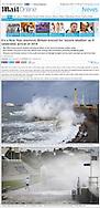 Waves crashing into Southsea, Hampshire, UK