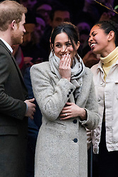 © Licensed to London News Pictures. 09/01/2018. Prince Harry and Meghan Markle visit Reprezent Radio in Pop Brixton, South London. The radio station was established in 2008 as a response to increased knife crime in order to help young people develop skills through radio. Photo credit: Rob Pinney/LNP