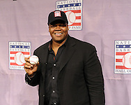 """CHICAGO - JANUARY 08:  Frank Thomas #35 of the Chicago White Sox poses with an autographed baseball inscribed """"HOF 2014"""" after addressing the media after being voted into the Major League Baseball Hall of Fame January 8, 2014 at U.S. Cellular Field in Chicago, Illinois.  (Photo by Ron Vesely)"""