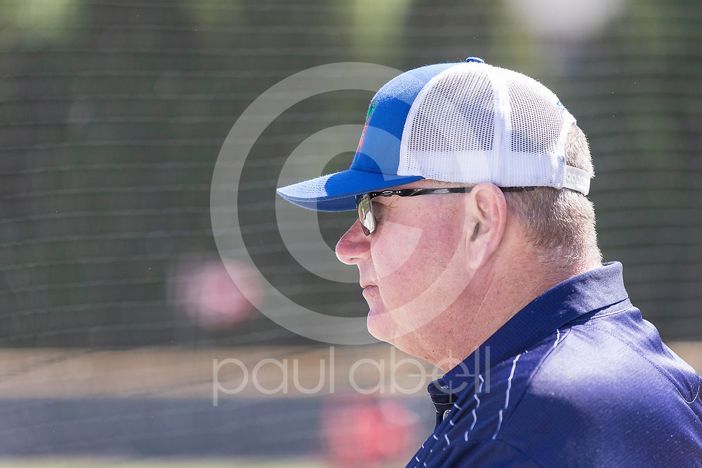 Texas Rangers Senior Director of Amateur Scouting Kipp Fagg looks on during an NCAA baseball game between Radford and Georgia Tech, Sunday, May 6, 2018, in Atlanta. (Paul Abell / Special Contributor)