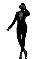 one  woman dancer dancing in silhouette on white background