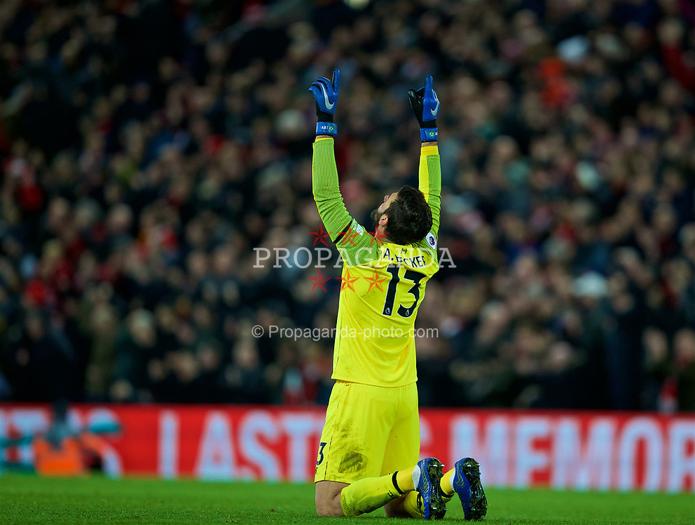 LIVERPOOL, ENGLAND - Saturday, December 29, 2018: Liverpool's goalkeeper Alisson Becker celebrates as his side score the fourth goal during the FA Premier League match between Liverpool FC and Arsenal FC at Anfield. Liverpool won 5-1. (Pic by David Rawcliffe/Propaganda)