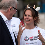Speaker Erin Cameron rally to STOP Live Transport 2018 unnecessary suffering in Parliament Square June 14 2018, London, UK.