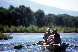 Sportscaster legand Curt Gowdy  and fly-fishing legand and inventer of the Royal Wulff, Lee Wulff, fly-fishg the Snake River in Jackson Hole Wyoming.