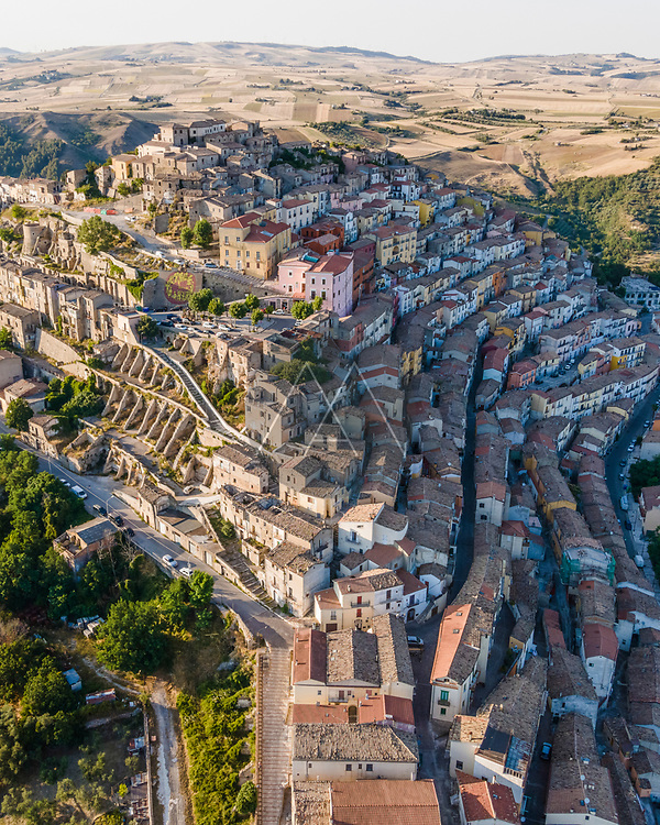 Aerial view of Calitri township on hillside, a colourful town in Irpinia, Avellino, Italy.