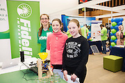 27/11/2016 REPRO FREE:  Claire Murphy Fidelity with Heater Egan and Grace Rogers from Galway City at the GMIT stand inNUI Galway as part of the Galway Science & Technology Festival.<br />  <br /> <br /> Photo: Andrew Downes, Xposure.