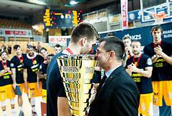 Alen Hodzic of Sixt Primorska and Igor Mervic, CEO of Spar Slovenija at trophy ceremony after winning during basketball match between KK Sixt Primorska and KK Hopsi Polzela in final of Spar Cup 2018/19, on February 17, 2019 in Arena Bonifika, Koper / Capodistria, Slovenia. KK Sixt Primorska became Slovenian Cup Champion 2019. Photo by Vid Ponikvar / Sportida