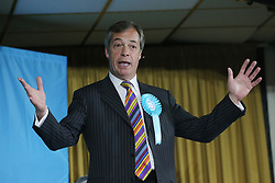Brexit Party leader Nigel Farage speaks during a rally at Featherstone Working Man's Club, while on the European Election in Pontefract, West Yorkshire. Picture dated: Monday May 13, 2019. Photo credit should read: Isabel Infantes / EMPICS Entertainment.