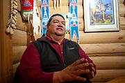 C.J. Stewart, former Legislative Senator of the Crow Tribal Legislative Branch, speaks with a journalist at the Custer Battlefield Trading Post about Herrera v. Wyoming , Crow Agency, Montana, April 26, 2019.