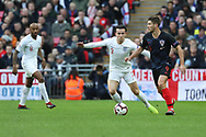 Croatia's Andrek Kramaric taking on England's Ben Chilwell during the UEFA Nations League match between England and Croatia at Wembley Stadium, London, England on 18 November 2018.