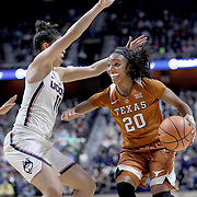 UNCASVILLE, CONNECTICUT- DECEMBER 4: Brianna Taylor #20 of the Texas Longhorns in action while defended by Kia Nurse #11 of the Connecticut Huskies during the UConn Huskies Vs Texas Longhorns, NCAA Women's Basketball game in the Jimmy V Classic on December 4th, 2016 at the Mohegan Sun Arena, Uncasville, Connecticut. (Photo by Tim Clayton/Corbis via Getty Images)