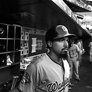 Anthony Rendon, Washington Nationals, in the dugout preparing to bat during the New York Mets Vs Washington Nationals MLB regular season baseball game at Citi Field, Queens, New York. USA. 31st July 2015. Photo Tim Clayton