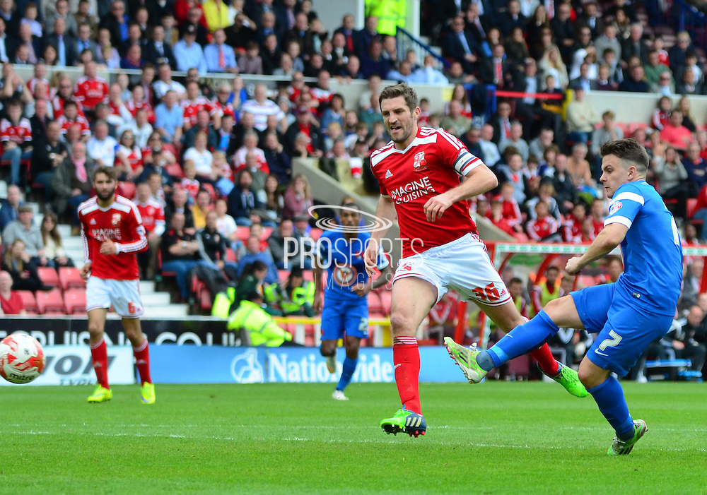 Dean Cox scores the opening goal for Leyton Orient during the Sky Bet League 1 match between Swindon Town and Leyton Orient at the County Ground, Swindon, England on 3 May 2015. Photo by Alan Franklin.