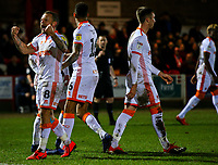 Blackpool's Jay Spearing celebrates after making the score 2-1 from the penalty spot<br /> <br /> Photographer Alex Dodd/CameraSport<br /> <br /> The EFL Sky Bet League One -  Accrington Stanley v Blackpool - Tuesday 5th March 2019 - Crown Ground - Accrington<br /> <br /> World Copyright © 2019 CameraSport. All rights reserved. 43 Linden Ave. Countesthorpe. Leicester. England. LE8 5PG - Tel: +44 (0) 116 277 4147 - admin@camerasport.com - www.camerasport.com