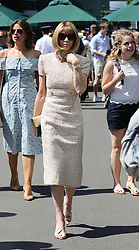 Dame Anna Wintour arrives on day five of the Wimbledon Championships at the All England Lawn Tennis and Croquet Club, Wimbledon. PRESS ASSOCIATION Photo. Picture date: Friday July 7, 2017. See PA story TENNIS Wimbledon. Photo credit should read: Philip Toscano/PA Wire. RESTRICTIONS: Editorial use only. No commercial use without prior written consent of the AELTC. Still image use only - no moving images to emulate broadcast. No superimposing or removal of sponsor/ad logos.