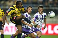 Fotball<br /> Frankrike<br /> Foto: Dppi/Digitalsport<br /> NORWAY ONLY<br /> <br /> FOOTBALL - FRENCH CHAMPIONSHIP 2007/2008 - L1 - FC SOCHAUX v TOULOUSE FC - 07/10/2007 - NICOLAS MAURICE BELAY (SO) / BRYAN BERGOUGNOUX (TOU)
