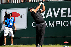 June 21, 2018 - Cromwell, CT, U.S. - CROMWELL, CT - JUNE 21: Patrick Reed of the United States hits from the 1st tee during the First Round of the Travelers Championship on June 21, 2018, at TPC River Highlands in Cromwell, Connecticut. (Photo by Fred Kfoury III/Icon Sportswire) (Credit Image: © Fred Kfoury Iii/Icon SMI via ZUMA Press)