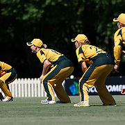 Australian slip fielders poised for a delivery during the match between Australia and Pakistan in the Super 6 stage of the ICC Women's World Cup Cricket tournament at Bankstown Oval, Sydney, Australia on March 16 2009, Australia won the match by 107 runs. Photo Tim Clayton