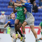 Topsy Ojo, London Irish and Mike Ellery, Saracens, challenge for a high ball during the London Irish Vs Saracens Aviva Premiership Rugby match, the first Premiership game to be played overseas at Red Bull Arena, Harrison, New Jersey. USA. 12th March 2016. Photo Tim Clayton