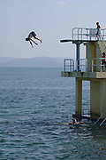 Robert Johnson from Ballinasloe enjoys the sushine and water at Blackrock Salthill Galway. Photo:Andrew Downes